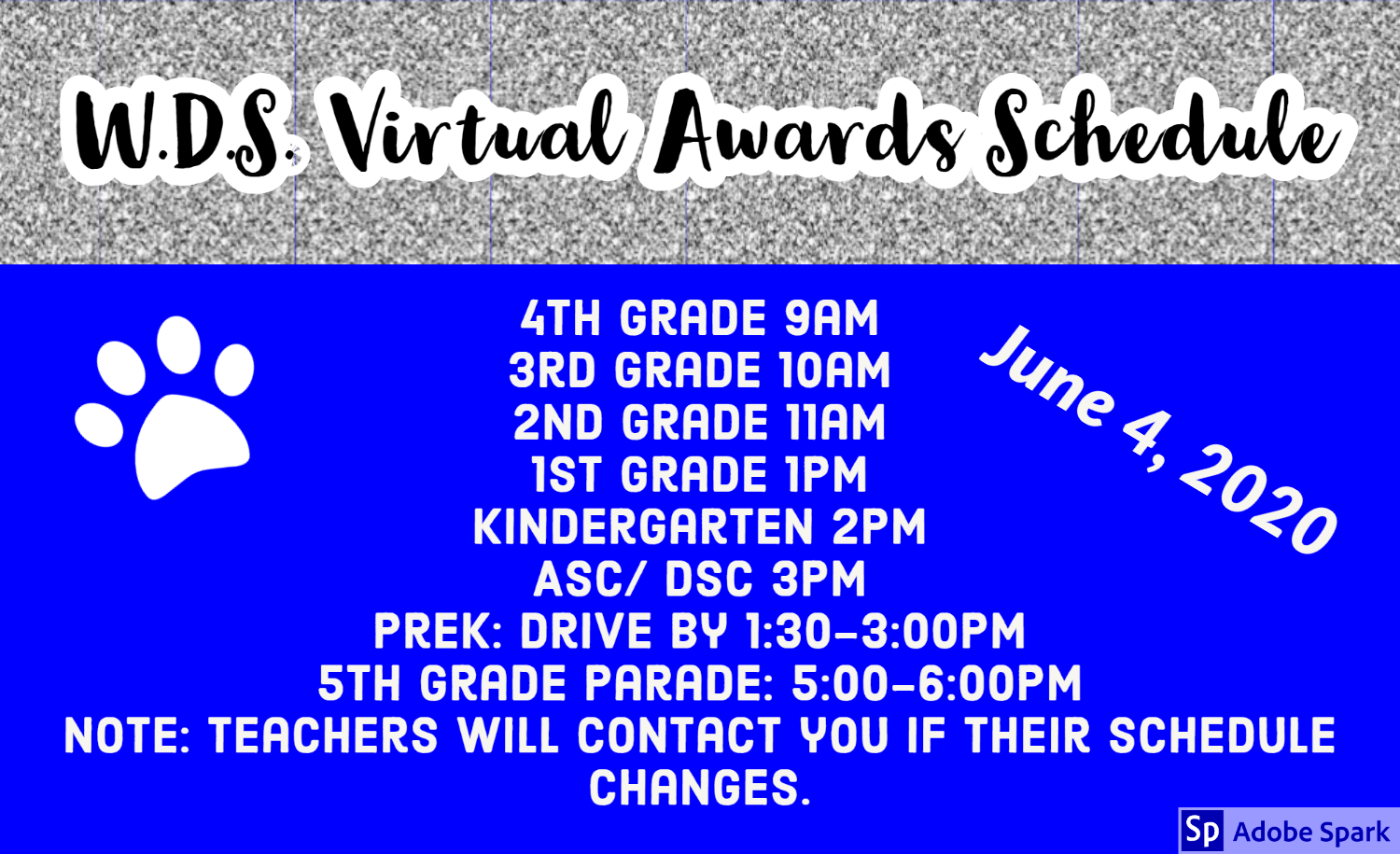 Image of W.D. Surratt Elementary virtual awards schedule