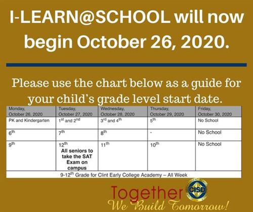 Information on iLearn at school website announcement