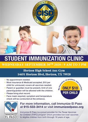 Flyer with details about Student Immunization Clinic