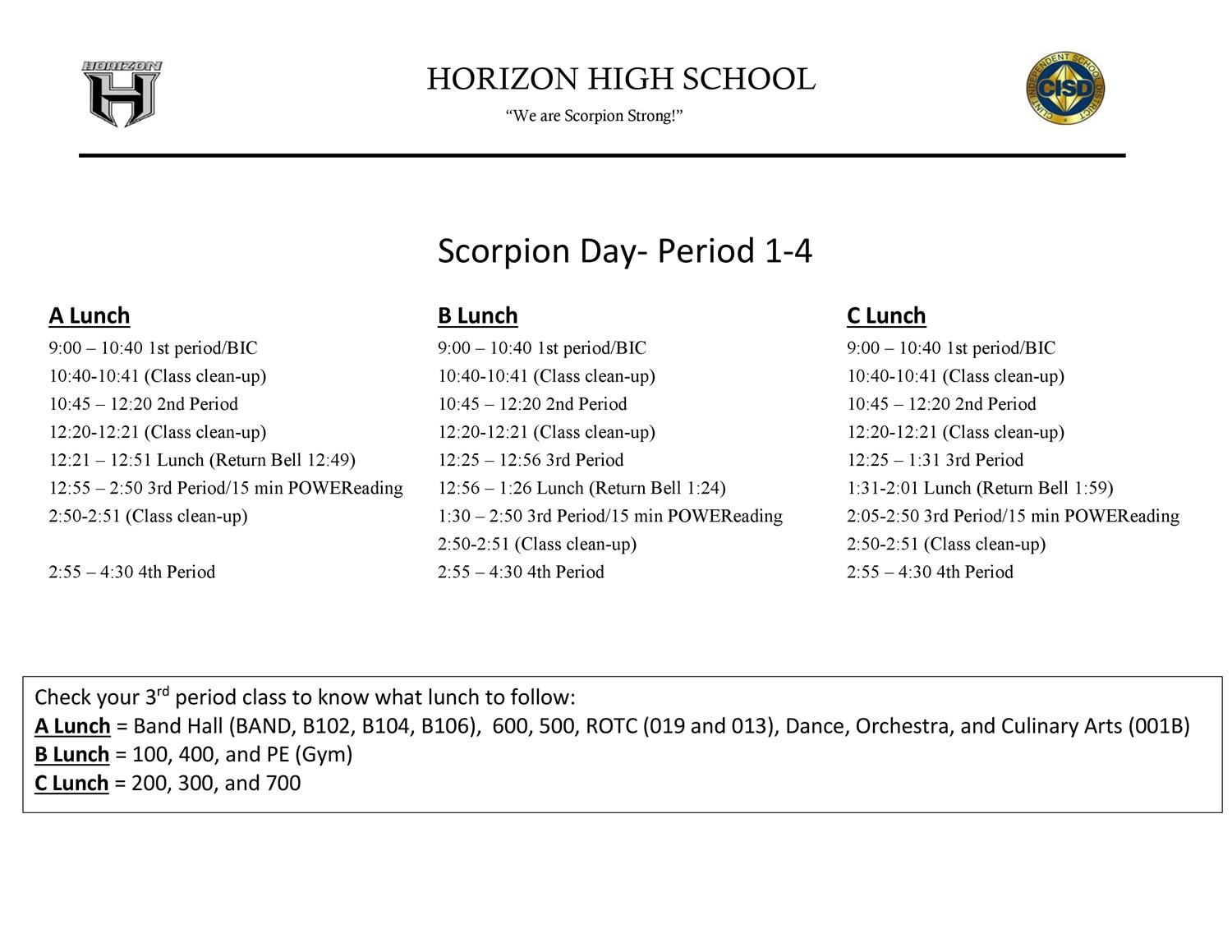 HHS Bell Schedule Part 1